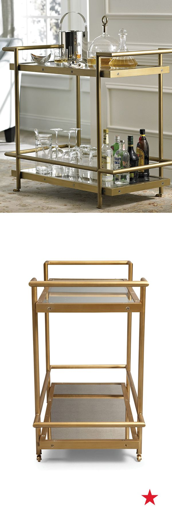 """Vitale bar cart — when it comes to hosting the perfect movie night or award show bash, a decked out concessions stand is a must! A luxe gold cart stocked with your favorite cocktail essentials and movie munchies takes the idea of a """"snack bar"""" to exciting new heights"""
