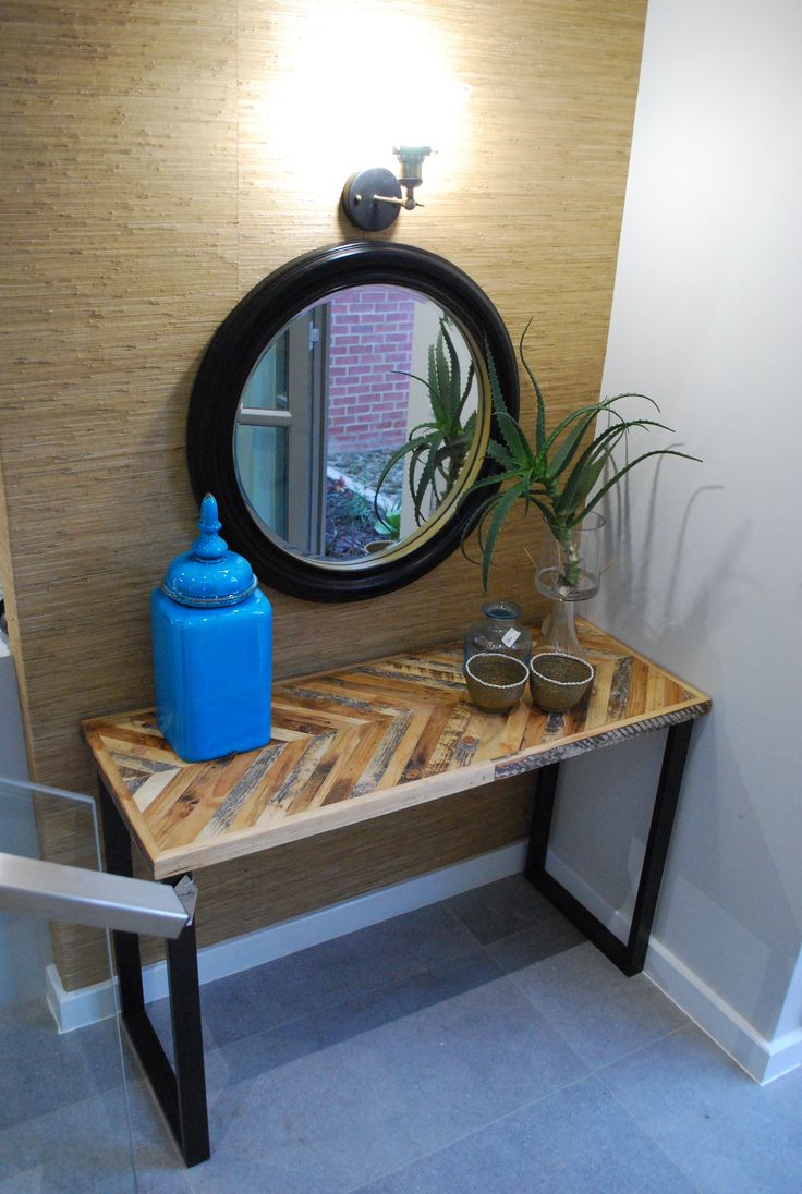 Chevron Hall Table with gold rimmed dark brown mirror