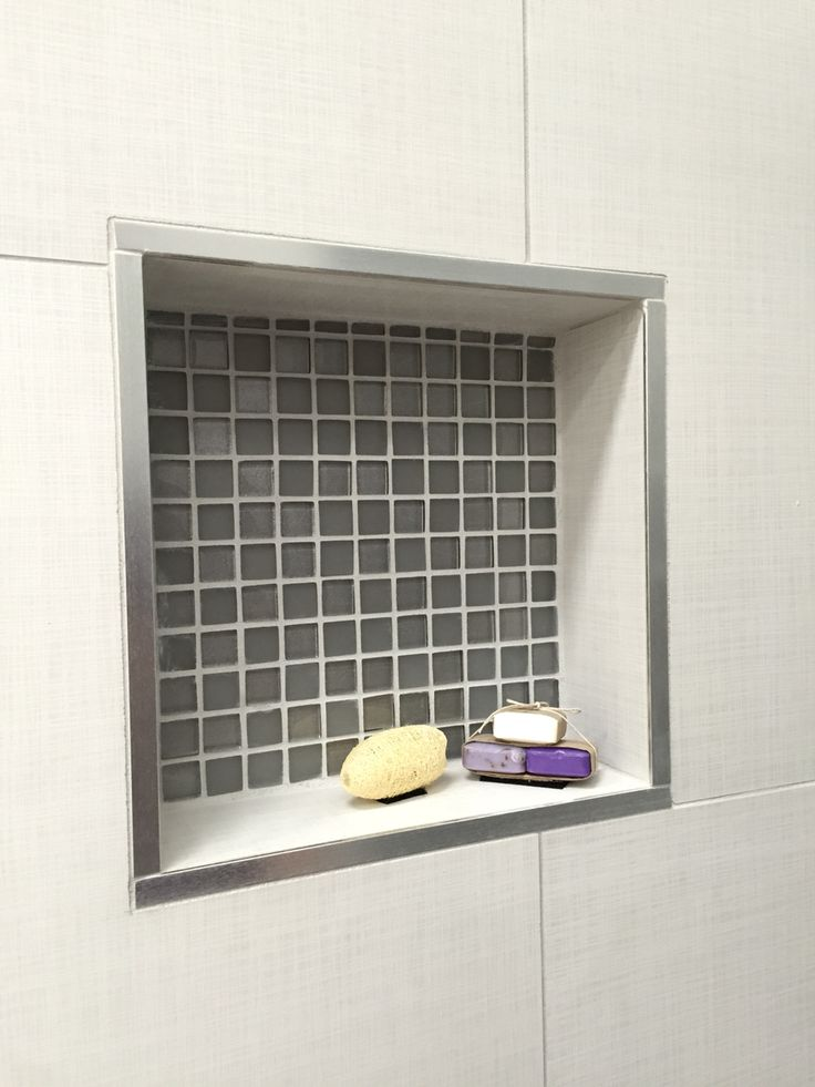 Shower Recess Using Manhattan Tile And Silver Trim
