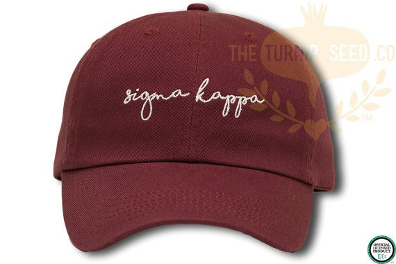 Sigma Kappa Handwriting Script Sorority Women's Baseball Cap by TheTurnipSeed. Your can choose your own hat and thread color. Great for gift for yourself or someone else!