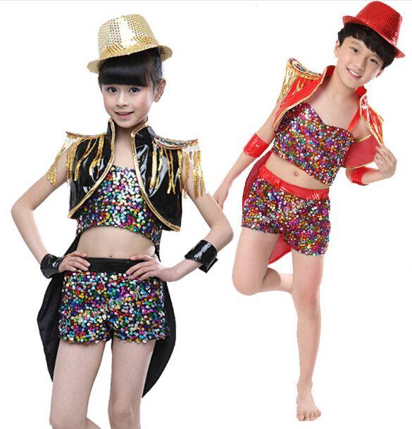Modern Jazz Dance,Jazz Dance Performance,Modem Dance, Children Jazz Dance Costumes for Girls and Boys Modern Dance Costume Clothes for Street Dance Clothings DS296,Only the costume,NO HAT