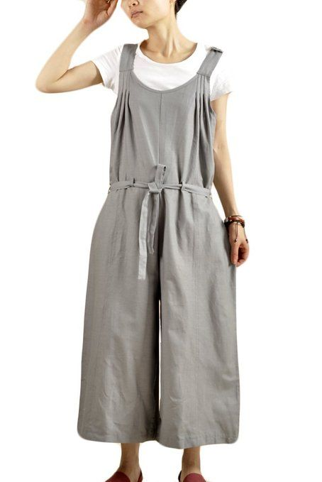 Pale grey baggy cotton overalls by Mordenmiss : Amazon