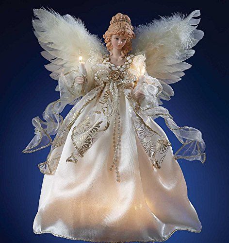 Angel Tree Toppers  Lighted Angel Tree Topper  Ivory  Gold  10 Lights  Christmas Decorations * Click image to review more details.