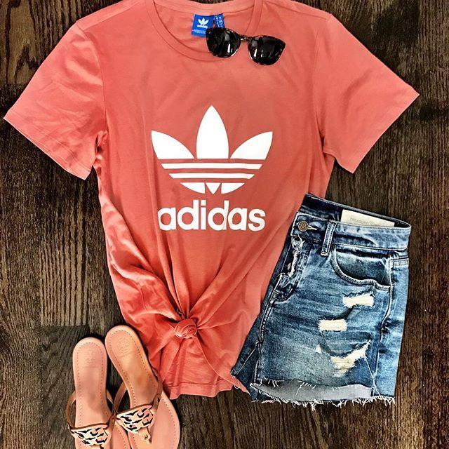 IG @mrscasual | Adidas original boyfriend tee, denim cut off shorts, tory burch miller sandals