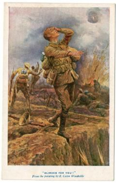 """During our 99 year history, Blind Veterans UK, have produced a series of postcards. This one is from the First World War and is titled """"Blinded for You"""" #BlindVeteransUK #FirstWorldWar #PaintedPostcards #Postcards"""