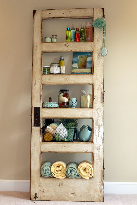 Antique White Door Bookcase by TheDoorShelfFactory on Etsy, $475.00