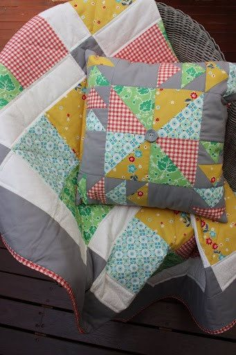 Vintage Squares Lap/Cot Quilt and Quilted Cushion