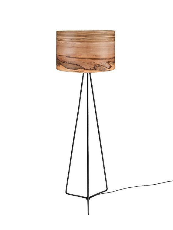 items similar to modern floor lamp wood floor lamp natural satin walnut shade modern lighting home decor modern meets nature on etsy