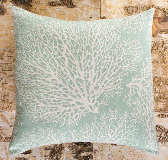 Sale Ends Soon Seafoam Green Throw Pillows Large Ocean Coral