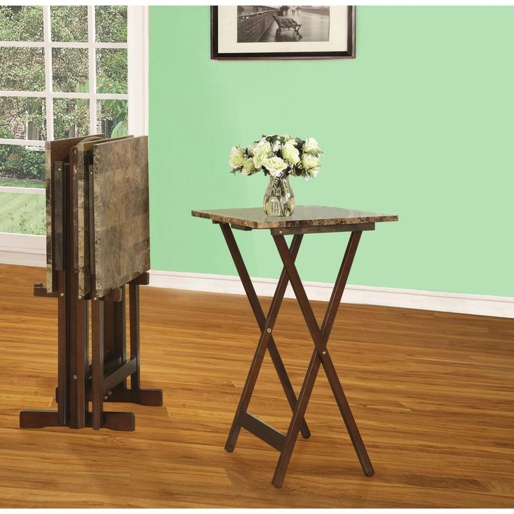 TV Trays And Snack Tables Table Mate Dinner With Stand Set Folding Kids Marble #Linon #Traditional