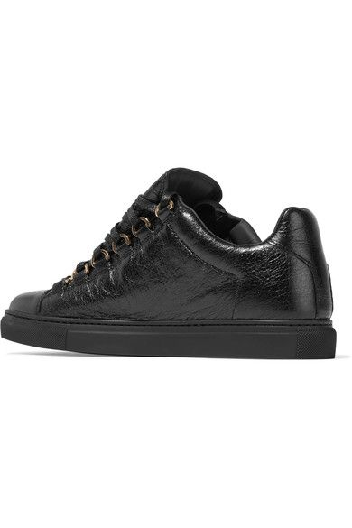 Balenciaga - Arena Crinkled-leather Sneakers - Black - IT40