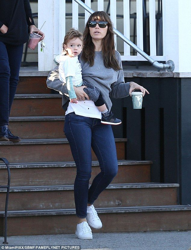 Coffee run: Jessica Biel brought son Silas on a coffee break on the South Carolina set of ...