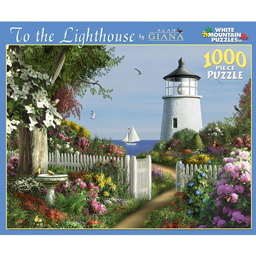 "To the Lighthouse 1000 Piece Puzzle: This beautiful coastal scene is caressed by the ocean breeze and brilliant sunshine. Artwork by Alan Giana. This 1000-piece jigsaw puzzle measures 24"" x 30"" when complete.  $14.99  http://www.calendars.com/Lighthouse/To-the-Lighthouse-1000-Piece-Puzzle/prod201200008816/?categoryId=cat00726=cat00726#"