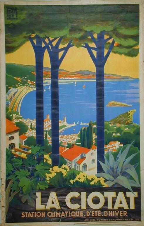 Vintage travel poste French Riviera. Allut Pery La Ciotat, PLM printed by Burotto & Sauvion #essenzadiriviera www.varaldocosmetica.it/en