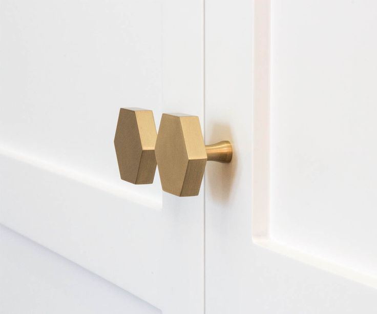 Hexagon Brass Knob Large