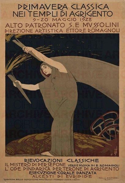 Duilio Cambellotti Primavera Classica nei Templi di Agrigento, 1928 stampa litografica a colori su carta 140 x 100 cm
