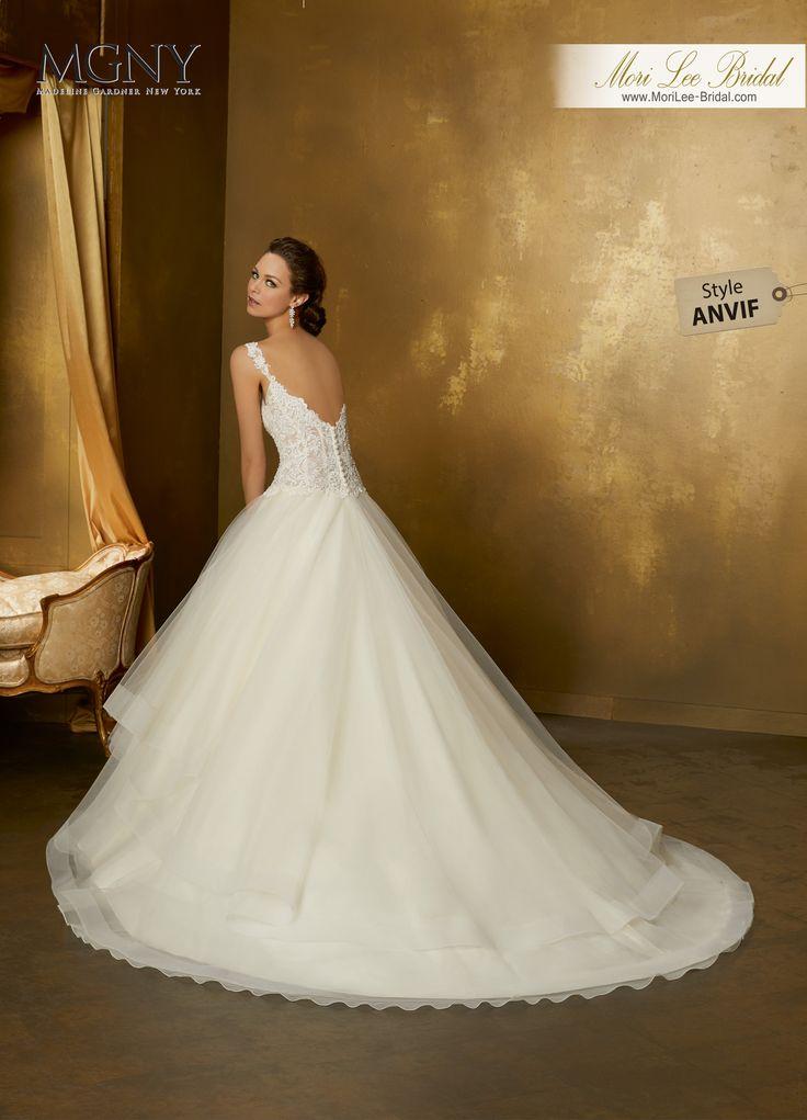 Style ANVIFOfiraCrystal beaded alençon lace appliqués on boned, corset bodice with horsehair edged, flounced ball gown skirt