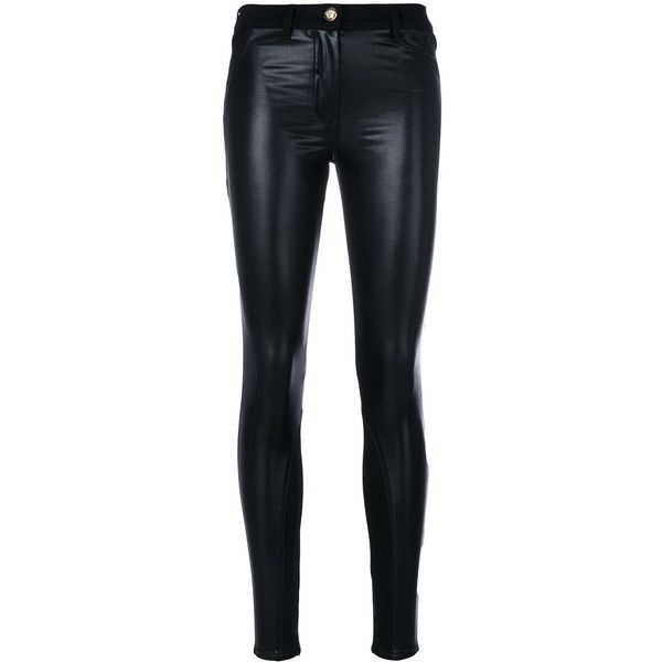 Versace Eco-Leather skinny jeans (£535) ❤ liked on Polyvore featuring jeans, black, zipper skinny jeans, versace, button-fly jeans, skinny fit denim jeans and slim cut jeans