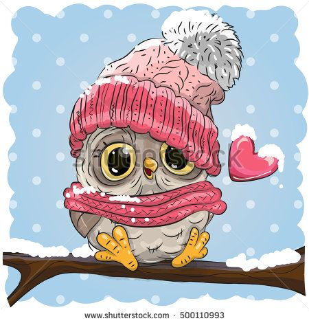 Owl in a knitted cap sits on a branch in a snow