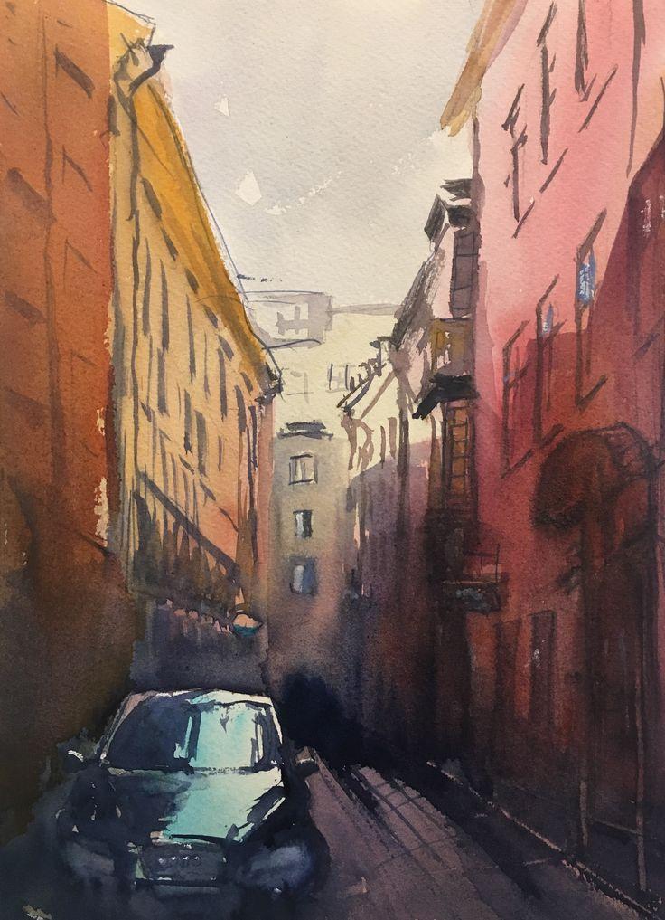 Ferkens Gränd, Gamla Stan. Akvarell av Stefan Gadnell