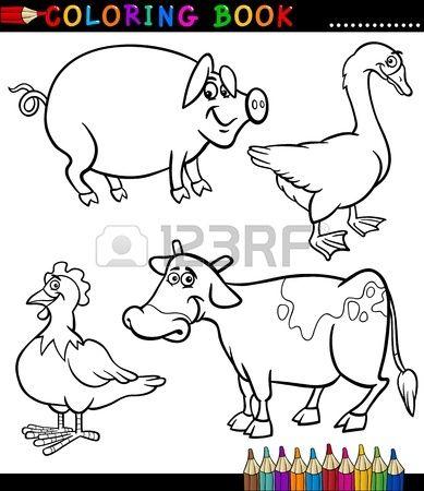 Fekete feh r kifest k nyv vagy oldal Cartoon illusztr ci k szlet Funny Farm s llatteny szt si llatok Stock fotó