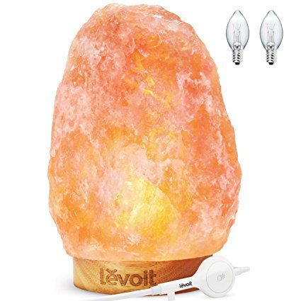 "Levoit Kana Himalayan Salt Lamp Natural Himilian Hymalain Pink Salt Rock Lamps(5-8 lbs,6.5-9"") with Genuine Rubber Wood Base, Touch Dimmer Switch,3 X 15Watt Bulbs,UL Cord & Gift Box  #spiritual #newage #forher #salt lamp #decoration"