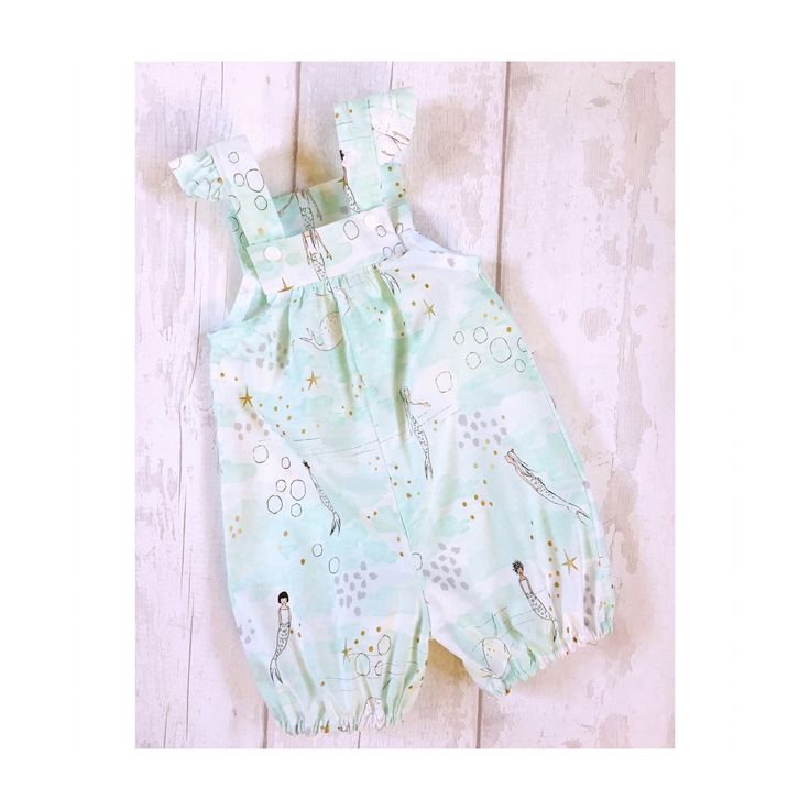 Baby Girls Mermaid Overall Shorts, Baby Romper for Girls, Girls Dungarees , Romper with Flutter Sleeves, Cake Smash Romper, Cake Smash Outfi by OliviaAndIvy on Etsy https://www.etsy.com/uk/listing/545308189/baby-girls-mermaid-overall-shorts-baby