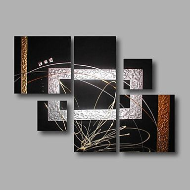 """Stretched (ready to hang) Hand-Painted Oil Painting 48""""x36"""" Canvas Wall Art Modern Abstract Black Silver 4880037 2016 – $167.30"""