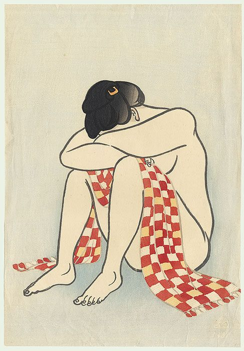 Portrait of a beauty after a bath, her head buried in her arms as she sits on the floor. Rafu, 1931 by Yamamura Koka (1885 - 1942)