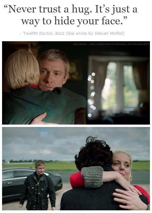 John doesn't look happy when he hugs Mary. But Mary looks happy that Sherlock is being exiled and then it will just be her and John.