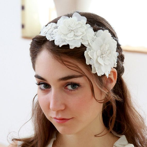 STYLE - #237 CODE: HDB006 Lace flower headband. Lace headand features romantic lace blossoms, hand-beaded with various beads and sequence. The mix of different fabrication creates unique texture and shape. To order yours, contact us on loca@localoca.co.za www.localoca.co.za