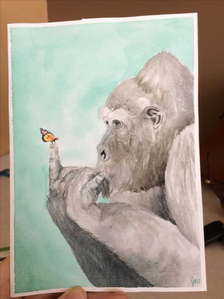 Card for coworker. Butterfly and giant. Watercolour
