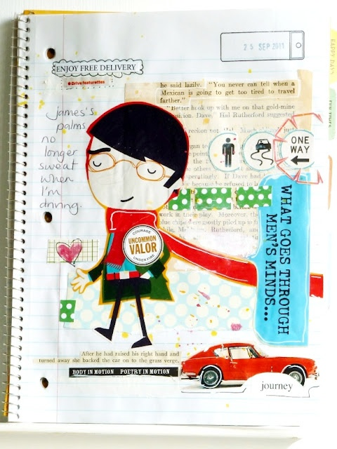 Journal page by Julie Kirk. lined, wire-bound notebook ...