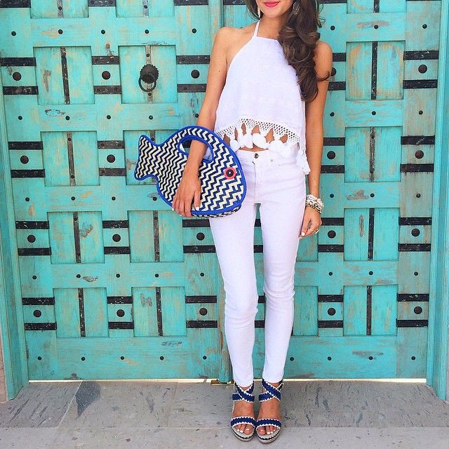 Summer bag game over. We've declared @cmcoving and her woven fish clutch a winner.   Shop her summer whites and statement style with a 'like' once you've signed up with www.LIKEtoKNOW.it   www.liketk.it/1khf6 #liketkit
