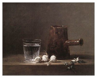 JEAN BAPTISTE SIMÉON CHARDIN (1699-1779) 'Glass of Water and Coffee Pot', 1760 (oil on canvas)