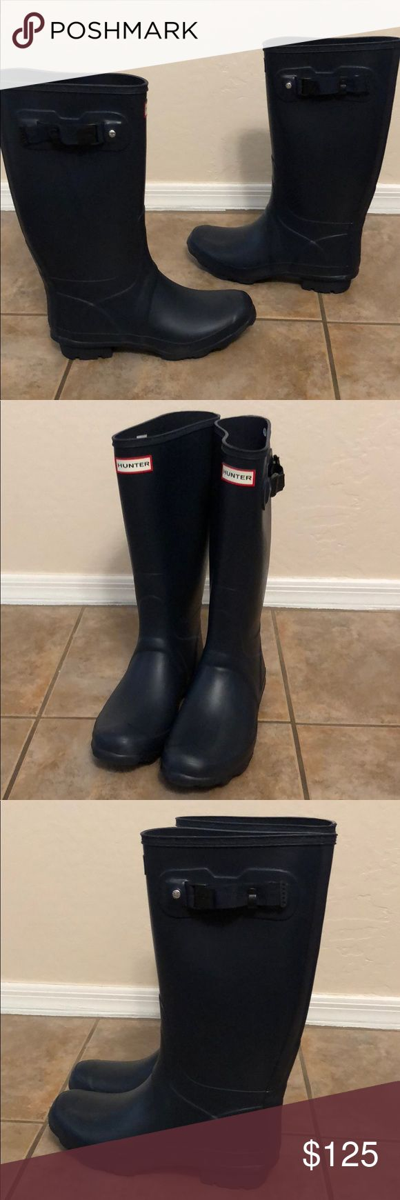 New Hunter Huntress Boot Wellies Shoes sz 9 Blue No Trades, New without Box, Display Model Hunter Boots Shoes Winter & Rain Boots