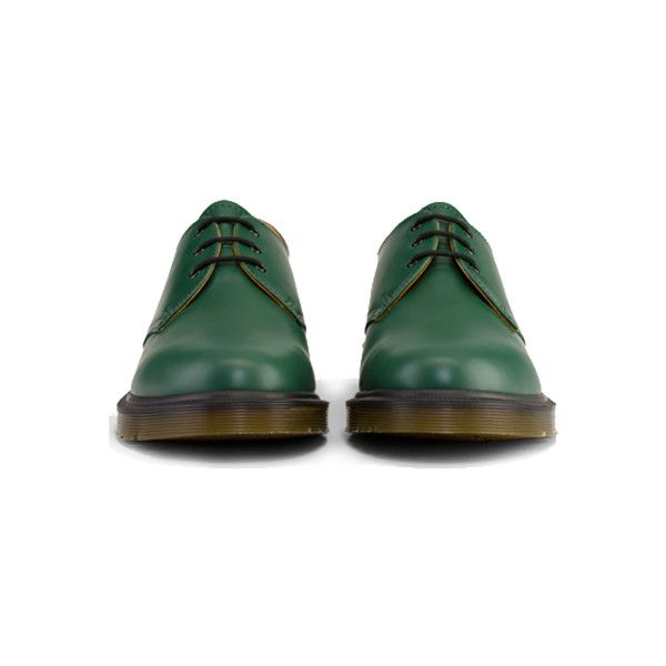 Dr Martens Mie 1461 Shoe GREEN SMOOTH TG - Doc Martens Boots and Shoes (£100) ❤ liked on Polyvore featuring shoes, boots, ankle booties, dr. martens, green booties, dr martens boots and green boots