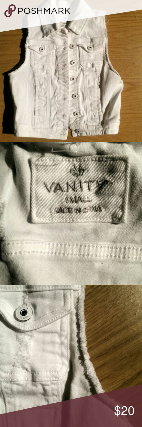 White Denim Vest by VANITY NWOT 10/10 condition. Smoke free home.sz small Vanity Jackets & Coats Vests
