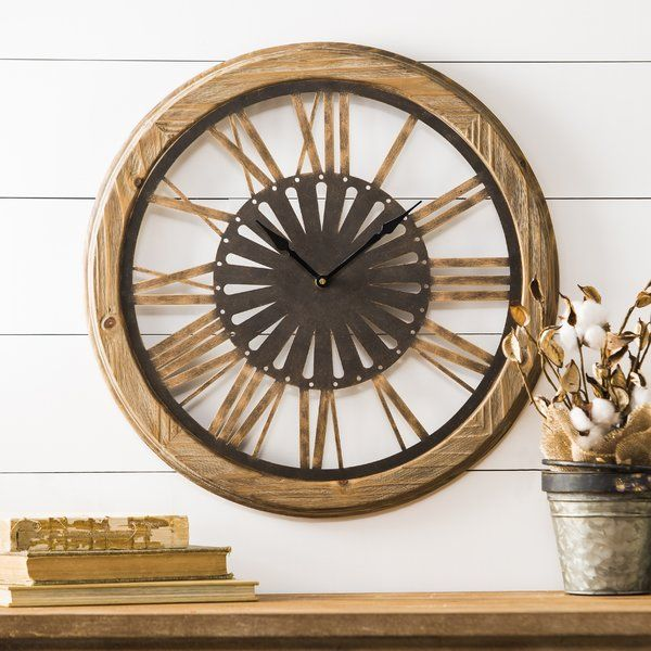 Jevin Round Brown Wood 19 25 Wall Clock Wall Clock Clock Traditional Wall Clocks