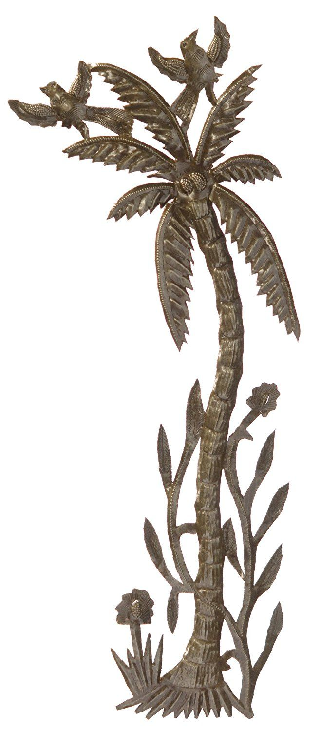 Le Primitif Galleries Haitian Recycled Steel Oil Drum Outdoor Decor, 9.25 by 22.75-Inch, Palm Tree -- Want to know more, click on the image. (This is an affiliate link and I receive a commission for the sales)