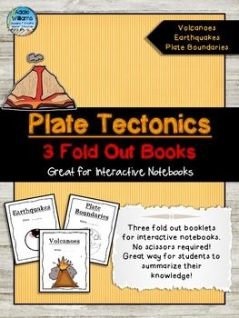 Interactive Notebook Idea for Plate Tectonics, Volcanoes and Earthquakes. No cutting required for these fold out books.  ($)
