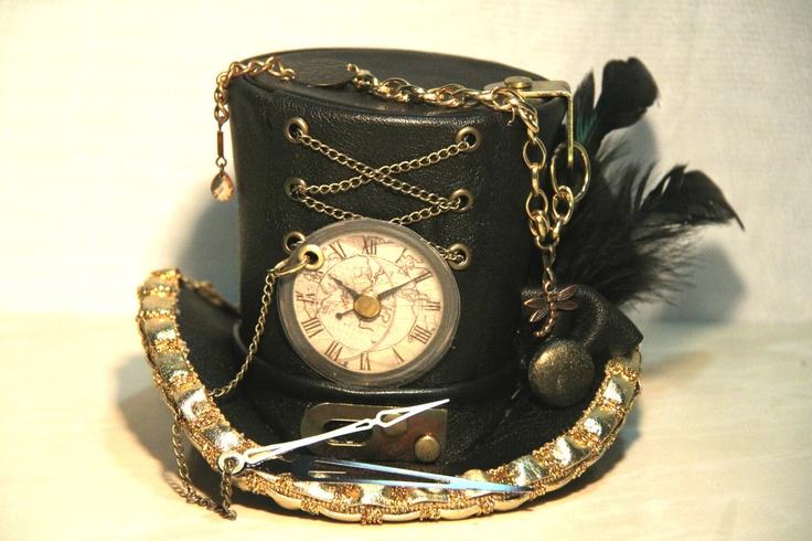 BLACK GOLD LEATHER MINI TOP HAT STEAMPUNK GOTHIC BURLESQUE CORSET CLOCK PUNK | eBay
