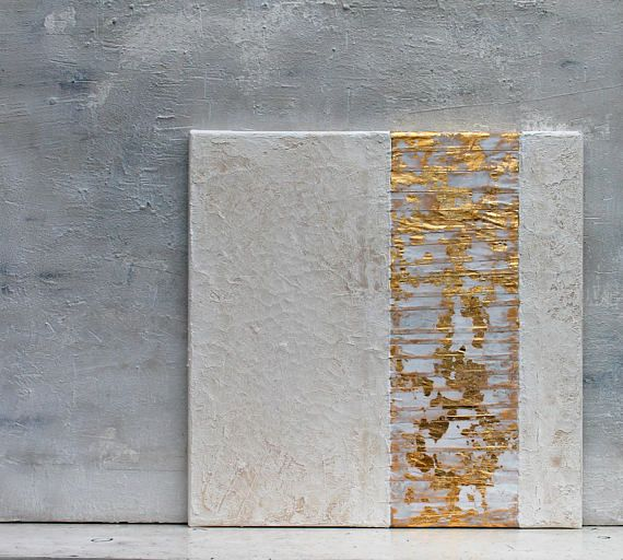 Gold leaf white Abstract painting office decor mixed