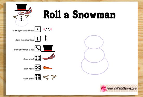 Free Printable Roll A Snowman Game For Christmas Christmas
