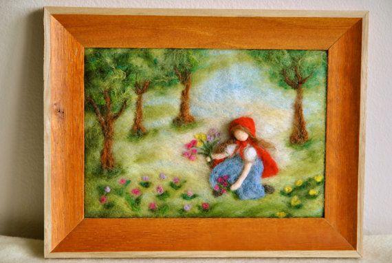 Cuento de hadas de fieltro aguja inspirada Waldorf / lana cuadro: la Caperucita Roja.