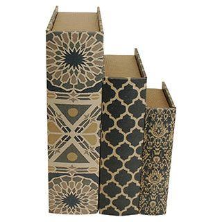 Book Design Storage Boxes (Set of 3)