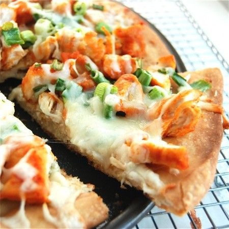 Yum Yum!  Buffalo Chicken Pizza.  Served with a side of ranch and voila!