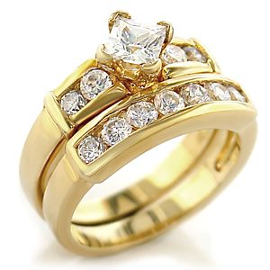 Beautiful Cheap Gold Plated Cubic Zirconia Wedding Rings Sets for Women