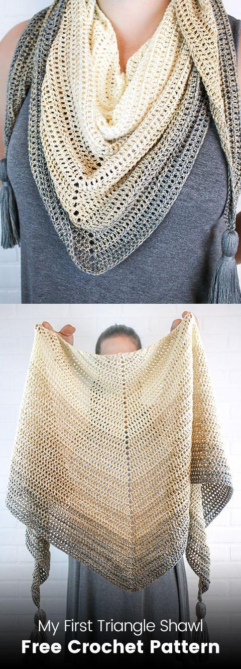 My First Triangle Shawl Padrão De Crochet Livre