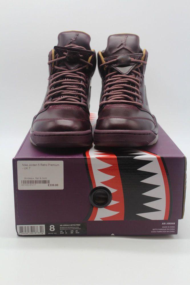c188421e09a955 eBay  Sponsored Nike Air Jordan 5 Retro Premium US 8 Bordeaux Sail   Gold  NEW
